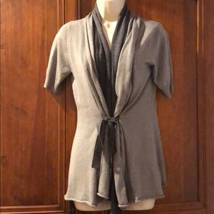 Gray Short Sleeve Cardigan - two toned with belt